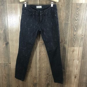 Free People black textured floral jeans Sz 27